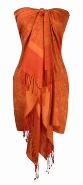 Orange-Yellow Vintage Jacquard Pashmina Shawl Wrap