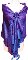 Purple/Blue Vintage Jacquard Paisley Shawl Wrap