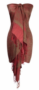 Elegant Vintage Jacquard Paisley Shawl Wrap (Red/Chocolate Brown)