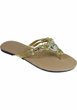 Gold Embellished Flip Flop Strappy Summer Sandals