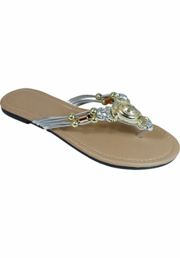 Silver Embellished Flip Flop Strappy Summer Sandals