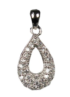 Jewelry Classic Sterling Silver Sparkle Cubic Zirconia Stones Teardrop Loop Pendant