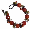 Jewelry Colorful Multi GemStone & Pearl Bead Toggle Clasp Bracelet