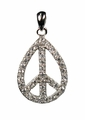 Jewelry Popular Cubic Zirconia Teardrop Peace Sign Pendant