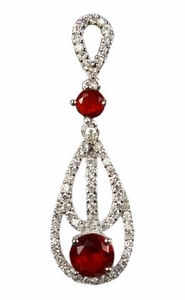 Jewelry Sterling Silver Cubic Zirconia & Red Gems Multi Teardrop Design Pendant