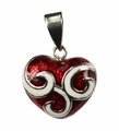 Jewelry Sterling Silver Vibrant Swirly Red Heart Pendant