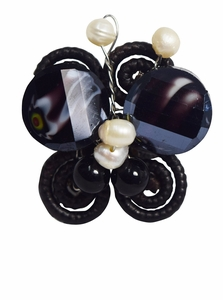 Black Onyx Water Pearls Butterfly Shaped Adjustable Ring