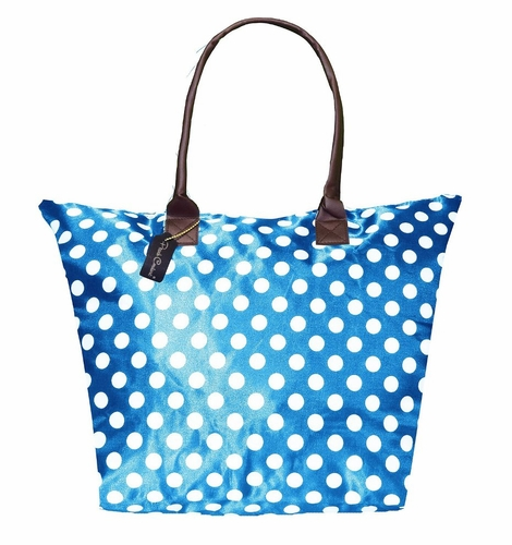 Light Blue-White Print Large Tote Versatile Beach Bag Purse Handbag Shoulder Bag