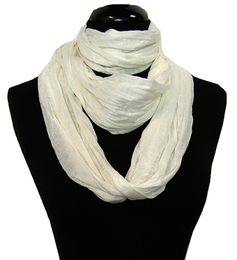 Fashion Lightweight Crinkled Infinity Loop Scarf (White)