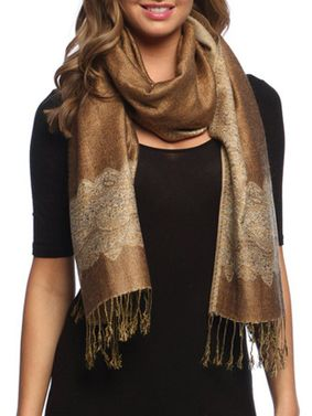 Khaki/Gold Ravishing Reversible Pashmina Shawl