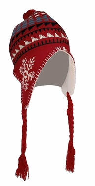 Red Kids Winter Knit Pom Pom Snowflake Print Trooper Trapper Ski Hat