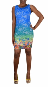 Blue Lace Rainbow Hem Scoop Neck Sleeveless Sheath Midi Dress