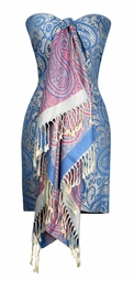 Large Vintage Vine Paisley Printed Solid Pashmina Shawl Scarf (Blue/Cream)