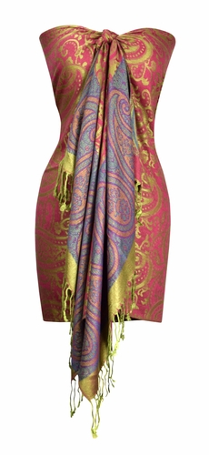 Large Vintage Vine Paisley Printed Solid Pashmina Shawl Scarf (Fuchsia/Green)