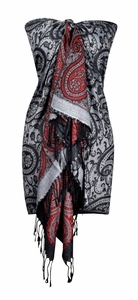 Large Vintage Vine Paisley Printed Solid Pashmina Shawl Scarf (Grey/Red)