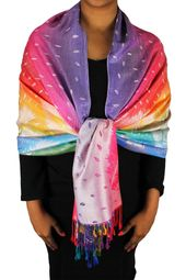 Lavender Rainbow Silky Tropical Feather Pashmina Wrap Shawl Scarf