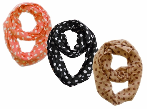 Light and Sheer Polka Dot Circle Print Infinity Loop Scarf 3 Pack Scarf Set (Black/Coral/Taupe)