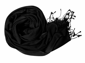 Black Soft Touch Pure Pashmina Wool Shawls Wraps