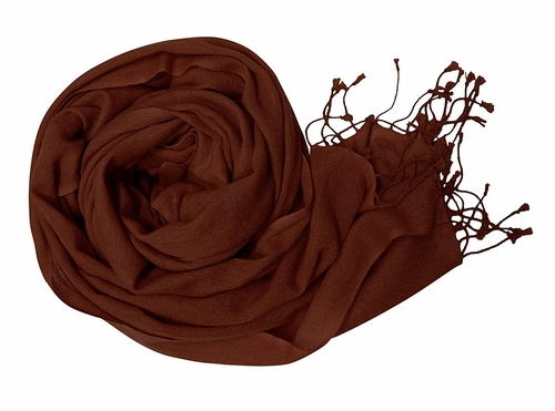 Chocolate Brown Soft Touch Pure Pashmina Wool Shawls Wraps