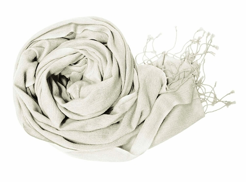 Light and Soft Touch Pure Pashmina Wool Shawls Wraps-OffWhite
