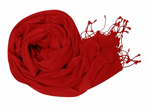 Red Soft Touch Pure Pashmina Wool Shawls Wraps