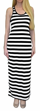 Black/White Beach Summer Striped Racerback Maxi Dress Sundress