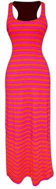 Fuchsia-Orange Beach Summer Striped Racerback Maxi Dress Sundress