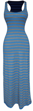 Grey-Blue Beach Summer Striped Maxi Dress Sundress