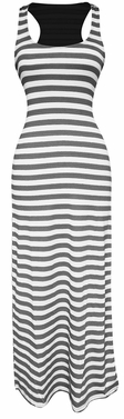 Grey-White Beach Summer Striped Maxi Dress Sundress