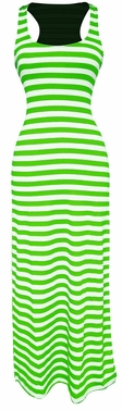 Lime-White Beach Summer Striped Maxi Dress Sundress