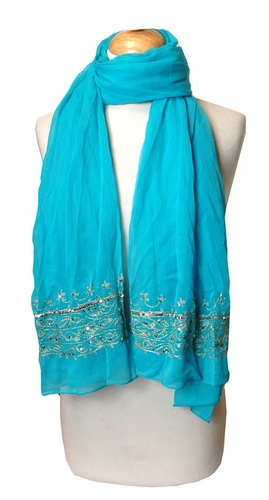 Light Sequined Turquoise Scarf