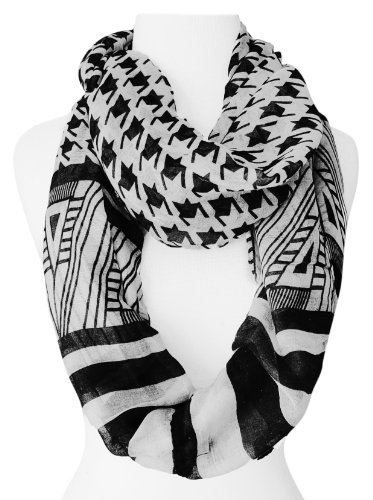 Black/White Light Tribal Striped Houndstooth Sheer Infinity Loop Scarf