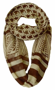 Brown/Tan Light Tribal Striped Houndstooth Sheer Infinity Loop Scarf
