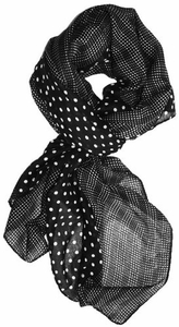 Lightweight Charming Polka Dot Border Polka Dot Pashmina/Scarf/Wrap (Black/White)