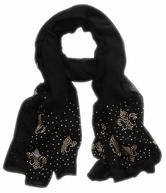 Black Studded Lightweight Fleur De Lis Studded Scarf Shawl Wrap