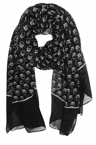 Black Lightweight Soft Animal Owl Printed Scarf Shawl