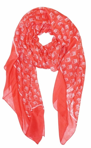 Coral Lightweight Soft Animal Owl Printed Scarf Shawl