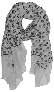 Grey Lightweight Soft Animal Owl Printed Scarf Shawl