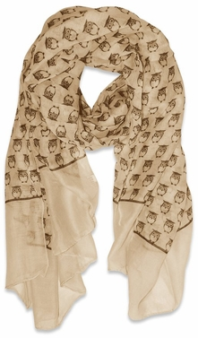 Tan Lightweight Soft Animal Owl Printed Scarf Shawl