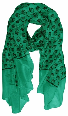 Teal Lightweight Soft Animal Owl Printed Scarf Shawl