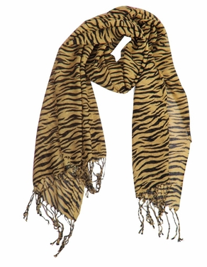 Tan Striped  Zebra Print Scarf