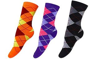 Living Socks Ladies Vibrant Argyle 3 Pair Pack Variety Crew Socks 4-10 Shoe Size (4-10, Purple Black Orange)