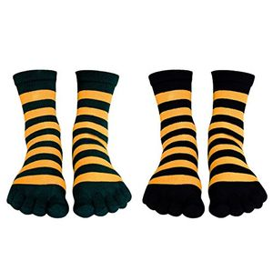Living Socks Ladies Warm Soft Striped Toe Socks - 2 Pack Assortment 4-10 Shoe (4-10, Yellow/Green, Yellow/Black)