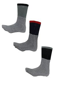 Living Socks New Original Extreme Weather Mens 3 or 6 Pack Thermal Boot Winter Socks (3 Pack Black Red Grey)