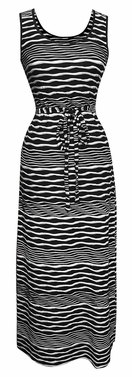 Nautical Black Long Striped Zig Zag Chevron Print Spring Summer Sleeveless Sundress