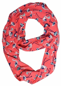 Coral Flamingo Light Bird Floral Print Infinity Loop Scarf