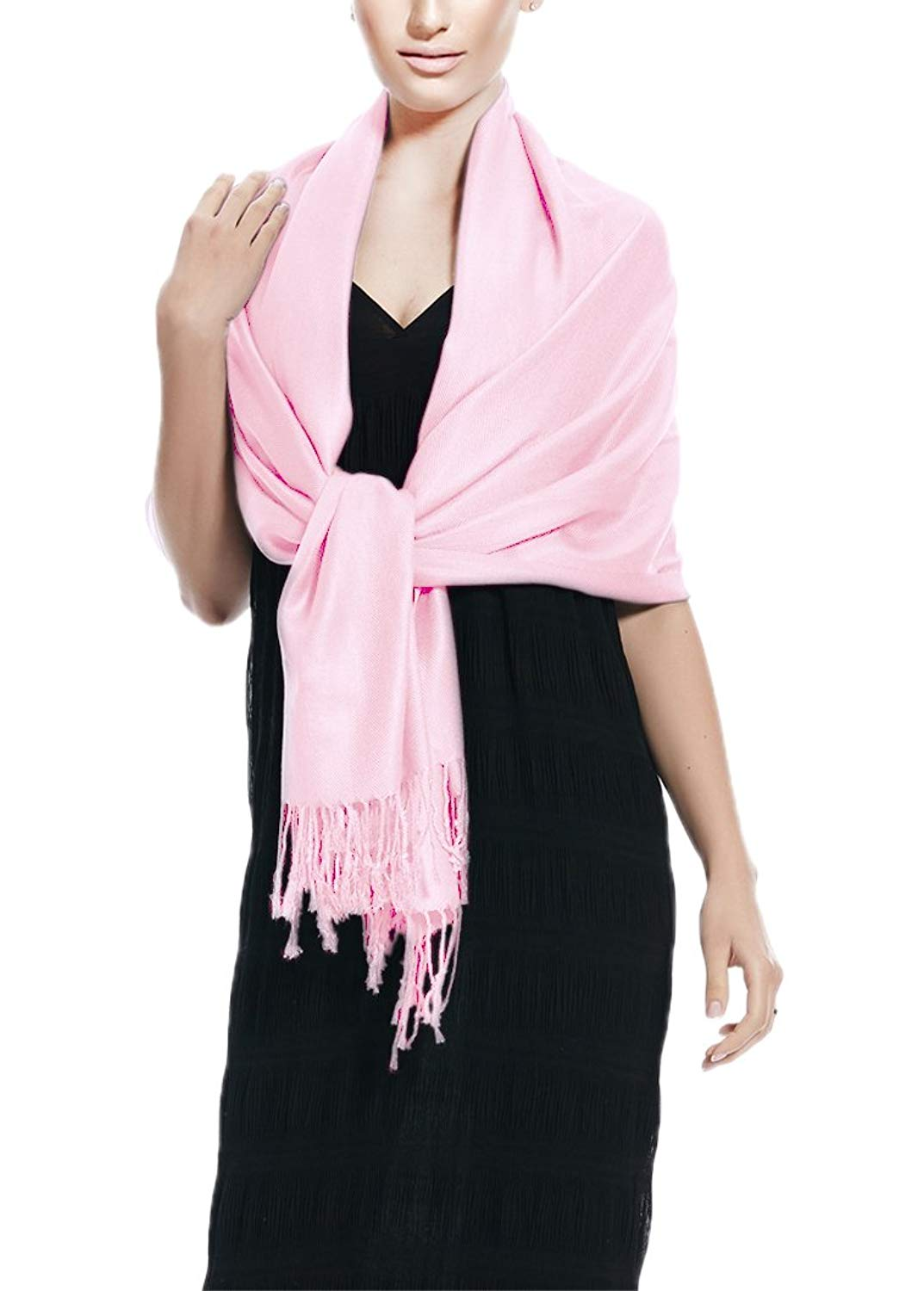 Baby Pink Pashmina Shawl Wrap Peach Couture