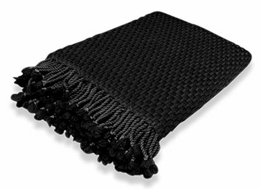 Black Basketweave Cashmere Throw with Tassels