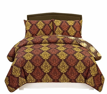 Plum Reversible Lightweight & Cozy All Seasons Damask Printed 3 Piece Quilt Set Miranda