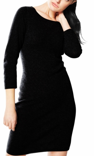 Luxurious Warm and Soft 100% Cashmere Bodycon Sweater Dress (Black)